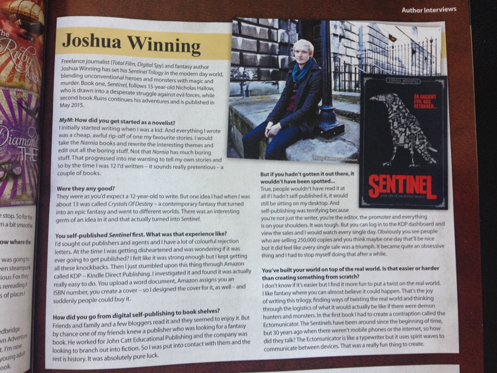 MyM magazine Sentinel Joshua Winning interview