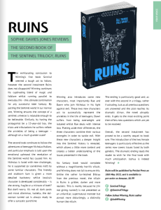 Ruins Joshua Winning Sentinel Trilogy World Student Mag